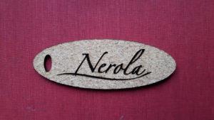 Etiquette ovale en liège -Institut de beauté Nerola à Loches (37)-20 x 50 mm- épaisseur 2 mm